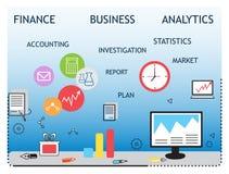 Современная концепция, аналитики и финансы дела Стоковые Изображения