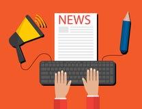 Современная концепция официального сообщения для печати для сети, На-линии новостей Плоский дизайн иллюстрация штока