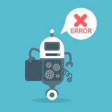 Современная концепция технологии искусственного интеллекта сообщения об ошибках робота иллюстрация штока