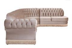 Современная коричневая изолированная софа кресла замши Стоковая Фотография