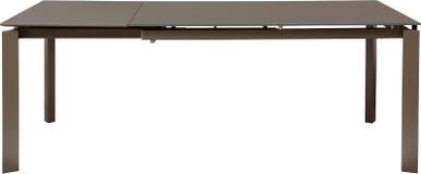 Современная коричневая dinning таблица Современный дизайнер, сползая таблица изолированная на белой предпосылке Серия мебели Стоковое фото RF