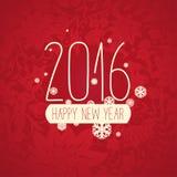 Современная красная белая поздравительная открытка Нового Года цветовой схемы Стоковые Фото