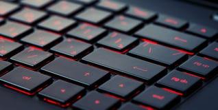 Современная красная подсвеченная клавиатура, концепция Стоковые Фото