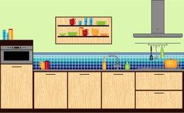 Современная кухня в плоском стиле Стоковые Изображения RF