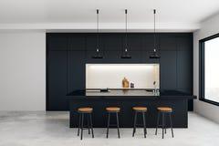 Современная кухня студии иллюстрация вектора