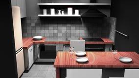 Современная кухня с деревянными частями Иллюстрация штока