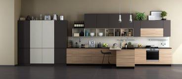 Современная кухня с полными аксессуарами иллюстрация штока
