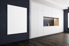Современная кухня с пустым плакатом иллюстрация штока