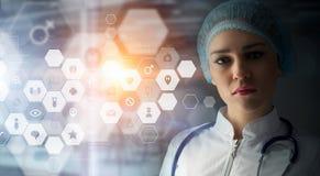 Современная медицинская концепция технологий Мультимедиа иллюстрация штока