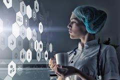Современная медицинская концепция технологий Мультимедиа иллюстрация вектора