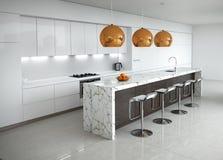 Современная минимальная белая кухня Стоковое Изображение RF