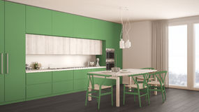 Современная минимальная зеленая кухня с деревянным полом, классическим интерьером стоковые фотографии rf
