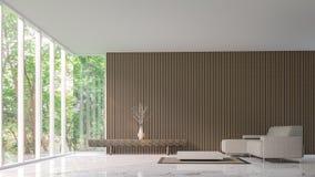 Современная мирная живущая комната в лесе иллюстрация штока