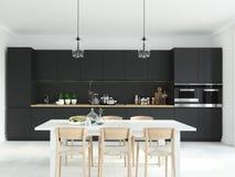 Современная нордическая кухня в квартире просторной квартиры перевод 3d Стоковое Изображение