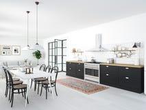 Современная нордическая кухня в квартире просторной квартиры перевод 3d Стоковые Изображения