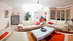 Современная панорама живущей комнаты Стоковое Изображение RF