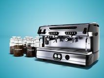 Современная профессиональная машина кофе для 2 чашек с большими опарниками различного перевода кофе 3d на голубой предпосылке с т бесплатная иллюстрация