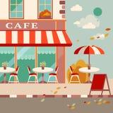 Современная плоская иллюстрация вектора Внешнее кафе в европейском st иллюстрация штока