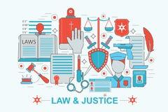 Современная плоская тонкая линия закон дизайна и концепция правосудия иллюстрация штока