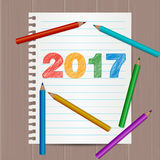 Современная рогулька, шаблон плаката с 2017 текстом нарисованным руками Бумага тетради Стоковые Фотографии RF