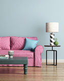 Современная розовая софа в свете - голубой роскошный интерьер