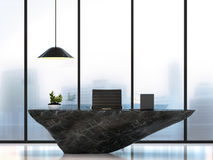 Современная роскошная таблица деятельности с черным мраморным изображением перевода камня 3D Стоковое Изображение