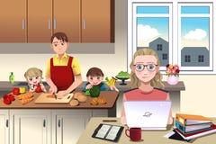 Современная семья дома бесплатная иллюстрация