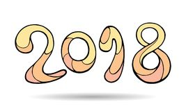 Современная смешная литерность 2018 Орнамент чертежа цвета руки вектора Стоковая Фотография RF