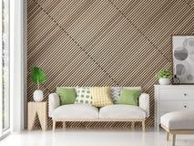 Современная современная живущая комната с деревянным изображением перевода решетки 3d Стоковые Фото