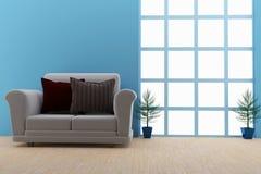 Современная софа в пустом интерьере комнаты в 3D представляет иллюстрация вектора