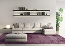 Современная софа в серой contemprary живущей комнате Стоковое Изображение RF