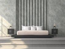 Современная спальня 3d стиля просторной квартиры представляет, там конкретный плиточный пол, отполированная бетонная стена Стоковые Изображения RF