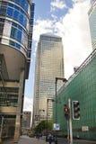 Современная стеклянная архитектура канереечной арии дела причала, и работники офиса Стоковое фото RF