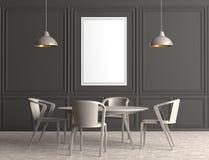 Современная столовая с насмешкой рамки плаката вверх иллюстрация 3d бесплатная иллюстрация
