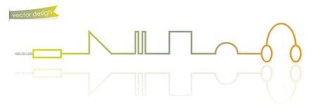 Современная тонкая линия как концепция аудиоплейера Стоковое Изображение RF