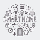 Современная умная домашняя круглая иллюстрация, символ вектора сделанный с значками и слово в тонкой линии стиле Стоковые Фото