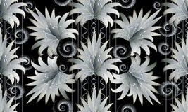 Современная черная белая флористическая striped безшовная картина обои 3D Стоковое Изображение
