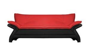 Современная черная и красная кожаная софа изолированная дальше Стоковое Изображение
