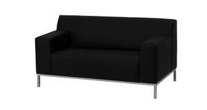 Современная черная кожаная изолированная софа Стоковое Изображение RF