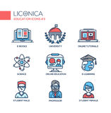 Современная школа и линия образования тонкая конструируют значки, пиктограммы Стоковые Фотографии RF
