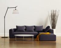 Современная элегантная роскошная фиолетовая софа с валиками Стоковые Изображения RF