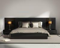 Современная элегантная роскошная черная спальня Стоковая Фотография RF