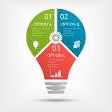 Современная электрическая лампочка infographic, 3 варианта Шаблон для представления, диаграммы, диаграммы Стоковые Фото
