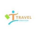 Современная яркая компания перемещения логотипа Эмблема человека с чемоданом второпях иллюстрация вектора