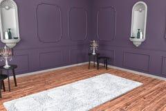 Современное Ä°nterior с красочными стеной и ковром, для вашей мебели, кровать, пустой космос стоковая фотография rf