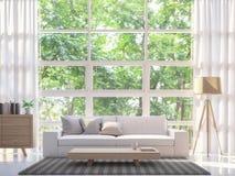 Современное белое изображение перевода живущей комнаты 3d Стоковое Фото