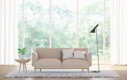 Современное белое изображение перевода живущей комнаты 3d Стоковые Изображения RF