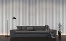 Современное белое изображение перевода 3d живущей комнаты внутреннее Стоковое фото RF