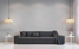 Современное белое изображение перевода 3d живущей комнаты внутреннее Стоковая Фотография