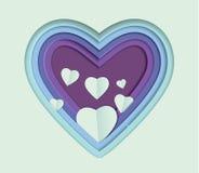 Современное бумажное сердце конспекта шаржа искусства Стоковое Изображение